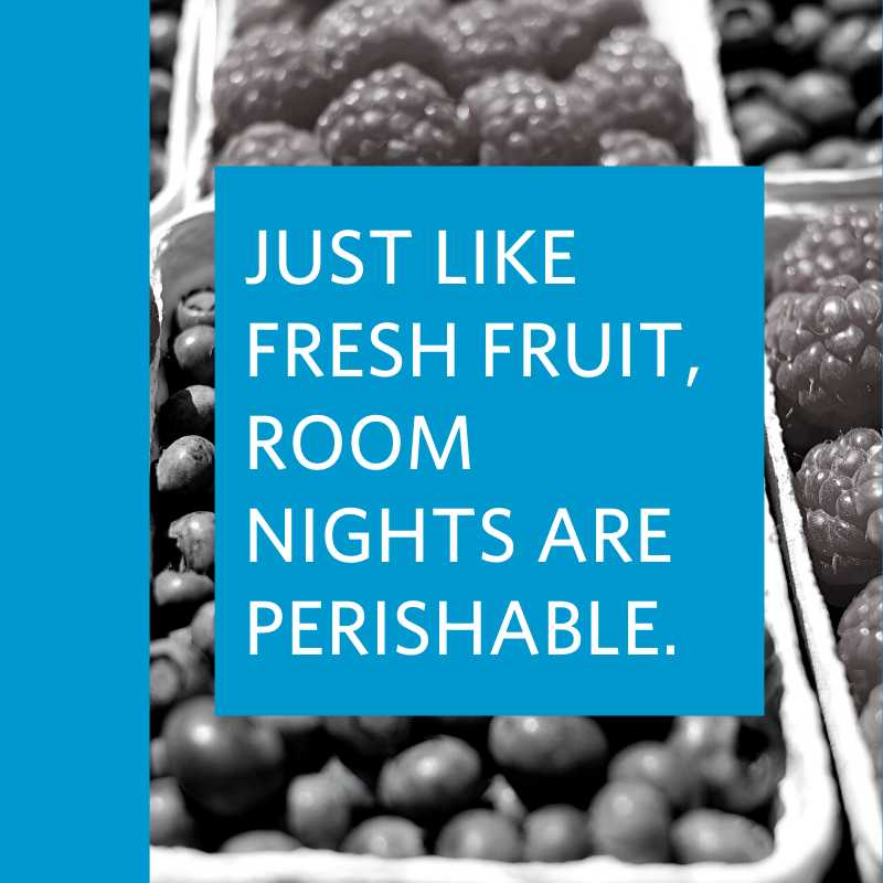 black and white image of berries with text block overlay reading just like fresh fruit room nights are perishable