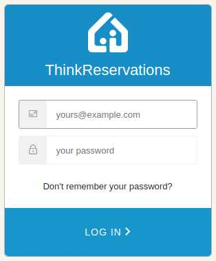 ThinkReservations login pop-up box with new option to recover password