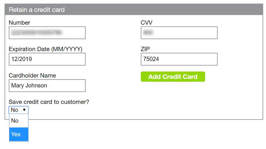 ThinkReservations Retain a Card form including new drop-down to choose to save card to customer