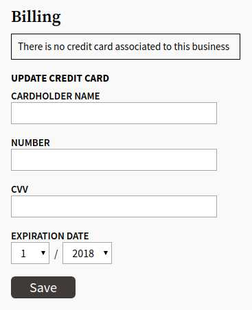 ThinkReservations customer billing information form